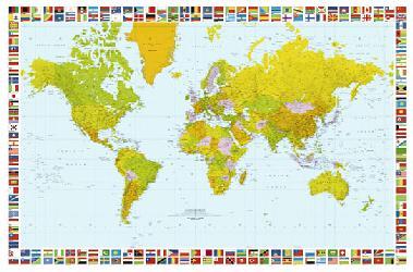 Poster para pared - Map of the world Enmarcado de laminas