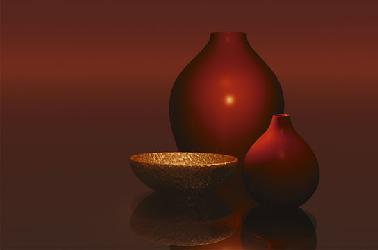Poster para pared - Red vases whit bowl Enmarcado de laminas