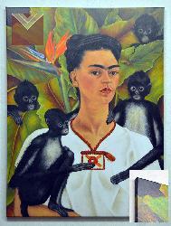 Cuadro Frida Kahlo Autorretrato con Monos Canvas en bastidor Enmarcado de laminas