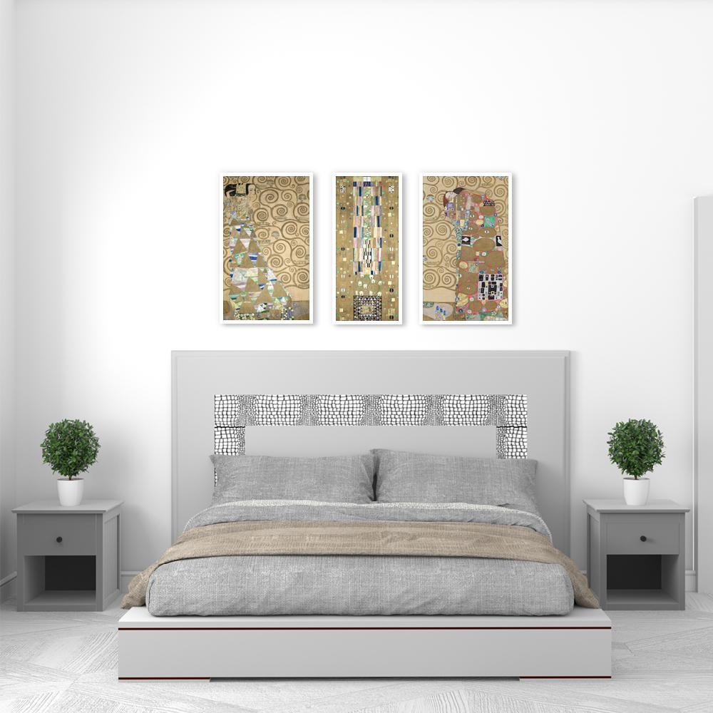 set 3 cuadros canvas con marco Klimt