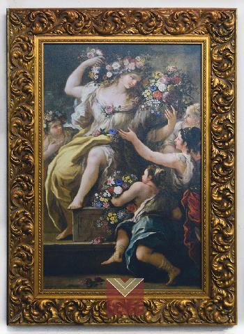 Enmarcado canvas en bastidor con marco labrado dorado Enmarcado de laminas