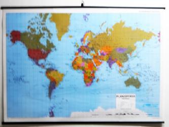 Mapa - Planisferio Fisico Politico Enmarcado de laminas