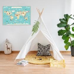cuadro mapamundi infantil con animales Enmarcado de cuadros