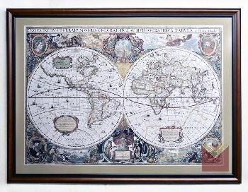 Enmarcado mapamundi antiguo 110 x 80 cm, varilla roble lustrado, vidrio antirreflex  Marcos y Cuadros