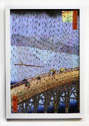 Cuadro El puente y332;hashi en Atake bajo una lluvia repentina Enmarcado de laminas