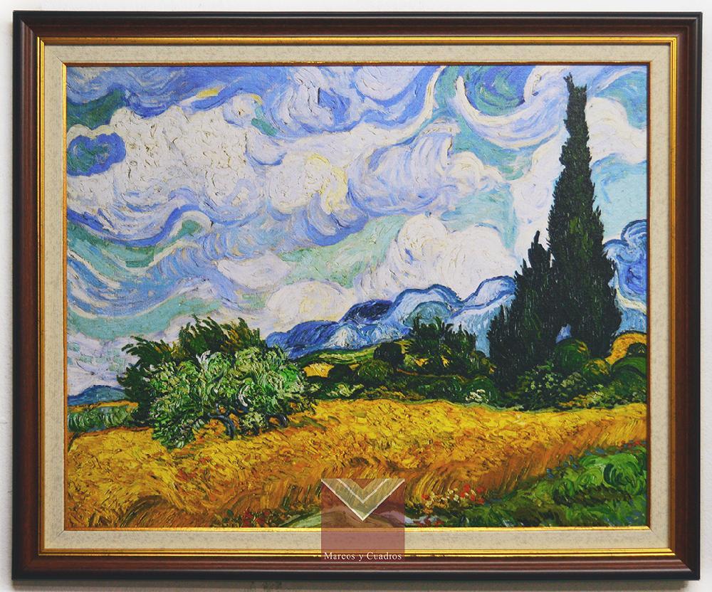 Cuadro Van Gogh, Campo de trigo con cipreses