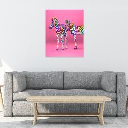 cuadro canvas cebras color Marcos y Cuadros